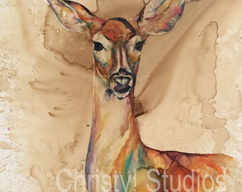 Rainbow White Tail Deer DOE - Coffee and Watercolor - Fine Art PRint - watermarked