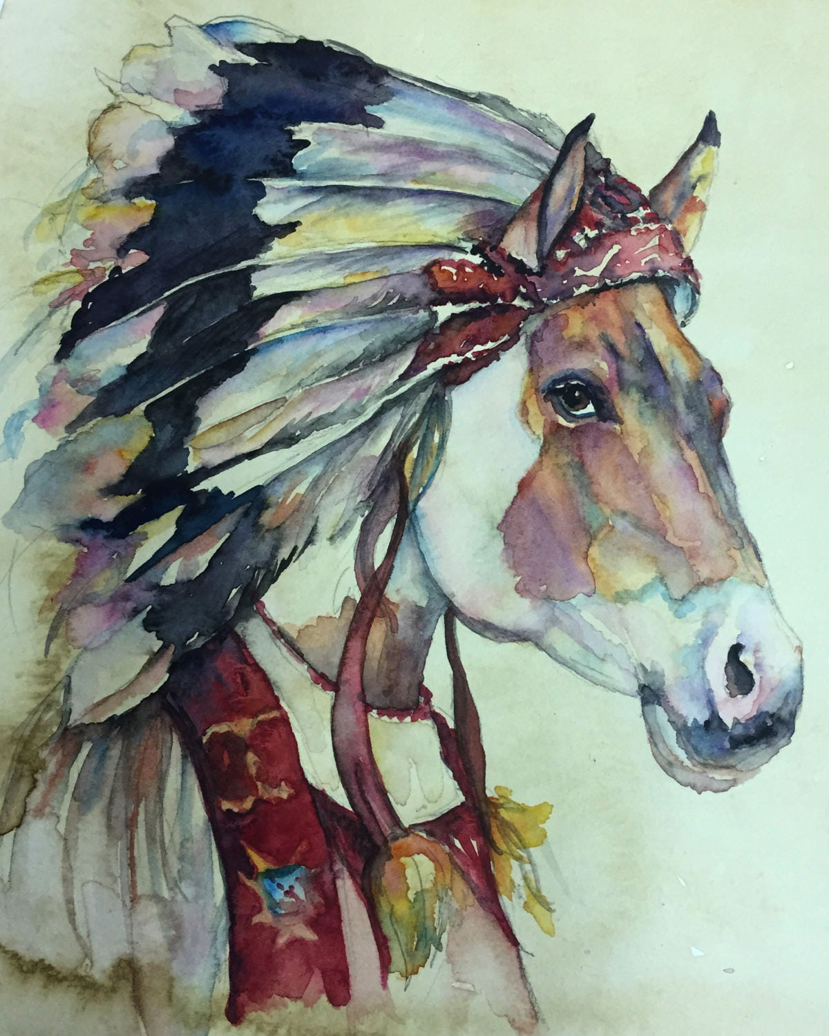 Old West Indian Horse Coffee And Watercolor Victorian Steam Punk Fine Art Print Paint Native American Western Mustang