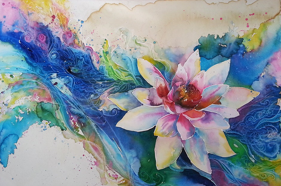 11 X 14 Watercolor Art Print Lotus Flower Peace Lilly On A Wave