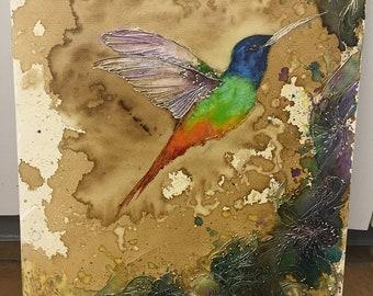 Rainbow Hummingbird Fine Art Print - Watercolor, Coffee and Mixed Media