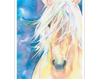 Palomino Horse Watercolor Portrait Fine art print Flaxen Mane Blue sky