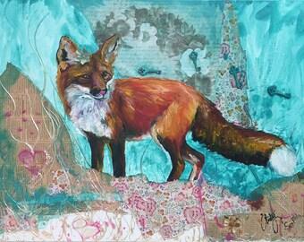 Foxy Fox - Fine Art Print - Mixed Media - Oil and Paper collaboration
