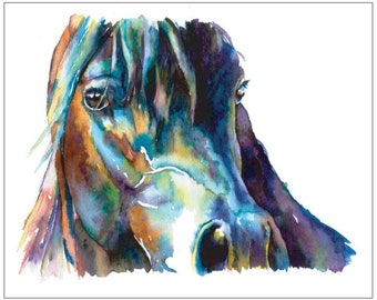Bay Horse Close Up Watercolor Portrait Fine art print - Purples and Blues. Black Horse. Shiny