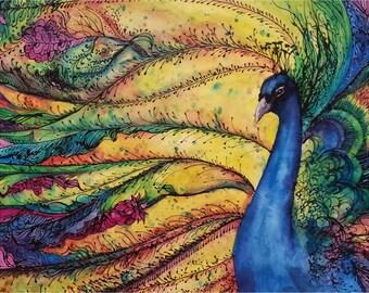 Rainbow Peacock Fine Art Print - Watercolor and Mixed Media Cobalt