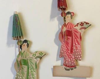 Pair Vintage Geisha Place Cards Markers Favours