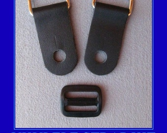 Ukulele Strap Kit , Do-It-Yourself, 1 Inch Wide Leather Tabs with Adjuster