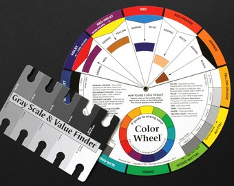 Color Wheel & Value Finder Combination for Artists,  Color Mixing Guide, for Quilters, Weavers, Designers, Painters, Beaders, Crafters