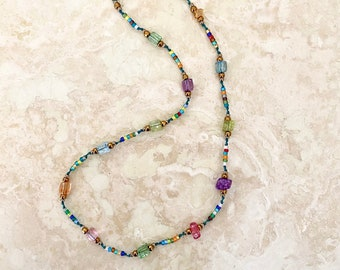 """Hand Knotted Seed Bead and Glass Nugget Choker — 15 inch """"K(not) Rock Candy"""" Choker - Item 1739"""