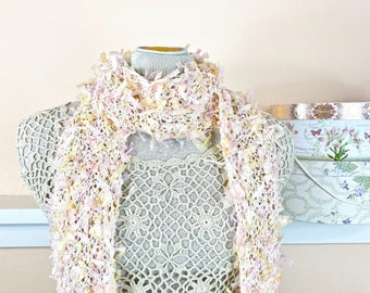 Fairy Perfect Long Handknit Scarf - Pretty Lightweight Scarf in Pale Pink and Yellow - Item 927