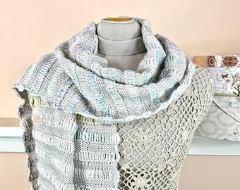 "Pastel Knit Winter Scarf of Merino Wool, Corriedale Wool, and Silk Hand-spun Yarn with Fine Merino Yarn - ""White Wash Scarf"" - Item 1615"