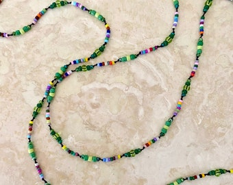"""Hand-Knotted Long Seed Bead Necklace - Hippie Style Delicate Necklace - """"She Lived on a Community Farm"""" - Item 1732"""