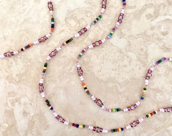"""Long Hand-Knotted Seed Bead Necklace - Hippie Style Delicate Necklace - """"She Grew Lots of Flowers"""" - Item 1731"""