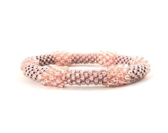 Bead Crochet Bangle - Blush Bead Bauble Bangle in Peachy Pink Seed Beads - Item 1608