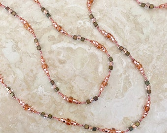 """Hand-Knotted Long Seed Bead Necklace - Hippie Style Delicate Necklace - """"Citrus Grove"""" - Item 1736"""