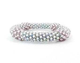 Rose Bliss Bead Crochet Rope Bangle Bracelet, Wedding or Prom Jewelry- Item 1309