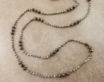 """Sparkly Hand Knotted Bead Necklace - Long Layering Necklace """"Mirror Mirror"""" Silver & Hematite Colored - Item 1511"""