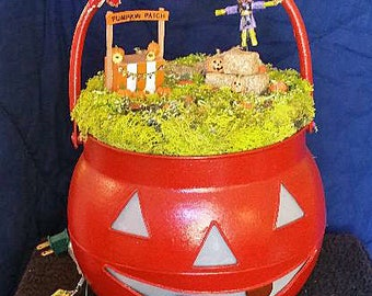 Jack O Lantern with Pumpkin Patch and Lights
