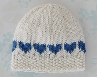 NICU PREEMIE HAT - to fit 2.5 to 5.5 lb (28 to 36 week gestation) baby boy  - Kangaroo Care - bamboo   cotton yarn in ivory with blue hearts 2a91456a9ae2