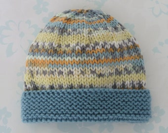 NICU PREEMIE HAT - to fit 2.5 to 5.5 lb baby boy - Kangaroo Care - baby  yarn in shades of teal 913f7609e3dd