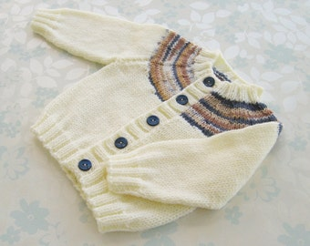 BABY BOY sweater / cardigan - birth to 6 months size - (ivory baby yarn with yoke in shades of blue and brown)