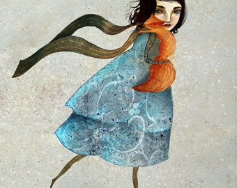 Red Fox and girl print   8X10   fox illustration, fox art, woodland animal -- childrens art anti-hunting fox   Lisa Falzon