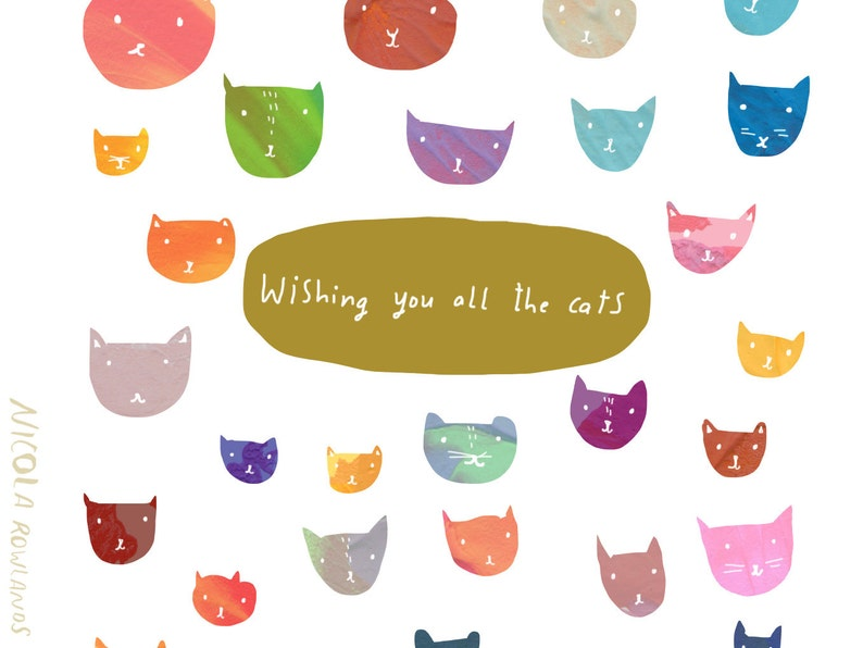 Wishing you all the cats card cc139 image 0