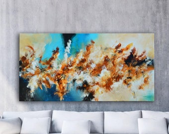 Large square Original Abstract Painting Blue red orange Art, extra large painting, fire painting, picture on canvas, lobby office painting
