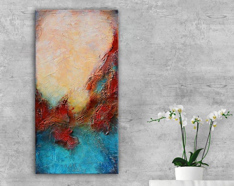 Bleu Rouge Abstrait Peinture Abstrait Art Mural Art Bleu Etsy