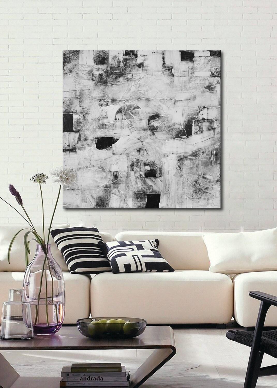 tableau abstrait noir et blanc grand format noir blanc. Black Bedroom Furniture Sets. Home Design Ideas