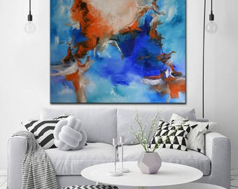 SALE 50% OFF Cobalt blue Abstract Painting canvas, blue orange original Painting, large square art, large blue painting on canvas