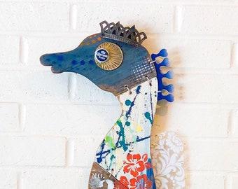 Maui Seahorse No. 2, Driftwood Wall Art, Reclaimed Wood, Navy Blue, Orange, White, pesce, pescado, poisson