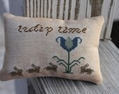 Tulip Time Spring Mini Pillow Cross Stitch  Made To Order