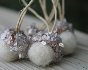 Christmas Ornaments Winter White Felted Acorns with Mica Flakes Tree Decorations Package Tie Ons