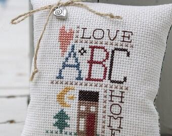 Cross Stitch Sampler Pinkeep - Love & Home Primitive Home Decor  Ready to Ship