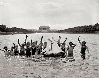 Boys Swimming In Reflecting Pool 1920s  Photo