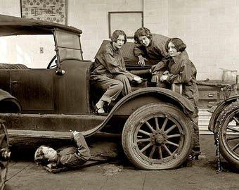 Female Automobile Mechanics 1920's Photo