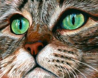 Tabby Cat Painting Print, Cat Print, Art Print, Reproduction, Cat, Pet, Portrait, 8 x 10, Realism, Giclee, Pastel, Painting, Fine Art