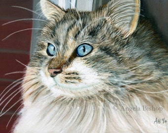 Gray Cat Painting Print, Cat Print, Art Print, Reproduction, Cat, Pet, Looking Out, 5 x 7, Realism, Giclee, Pastel, Painting, Fine Art