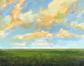 Oil Painting Custom Landscape Modern Abstract Sky Cloud Field by J Shears