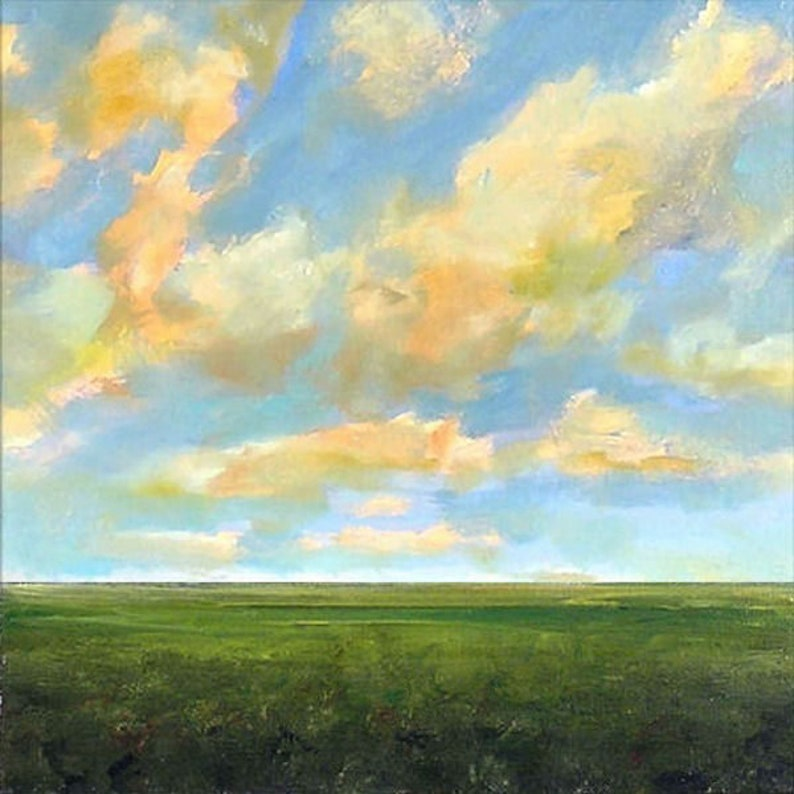 Oil Painting Custom Landscape Modern Abstract Sky Cloud Field image 0