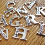 initial charm hand stamped with date (charm only)