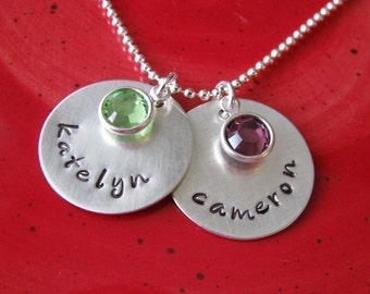 custom double name necklace with birthstones