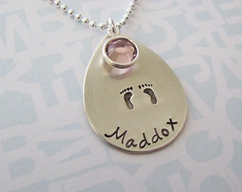 teardrop baby name necklace with footprints and birthstone