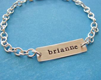 custom ID bracelet in sterling silver