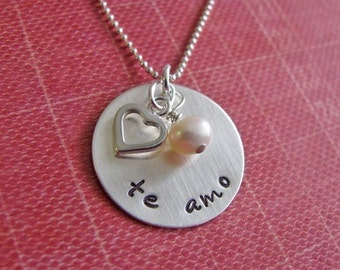 sterling silver te amo necklace
