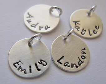 custom silver small name charm