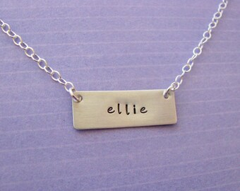 personalized tag necklace - hand stamped sterling silver