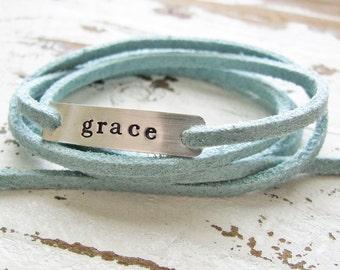custom bar wrap bracelet - hand stamped sterling silver