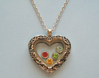 antique heart locket necklace - choose your charms