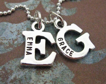 sterling silver custom double initial necklace - personalize the initials with the names of your choice